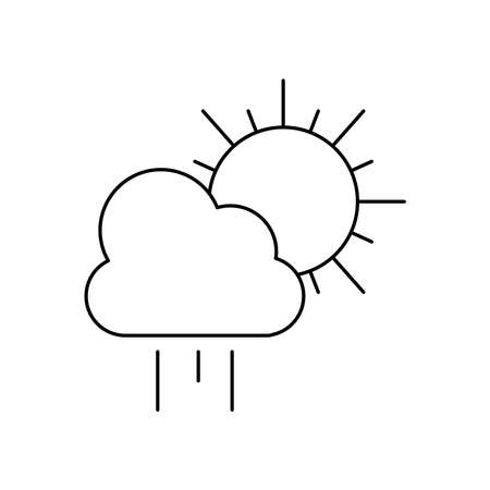 weather concept, rainy cloud and sun icon over white background, line style, vector illustration