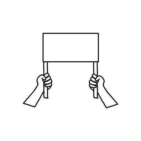 protest concept, hands holding a blank placard over white background, line style, vector illustration Çizim