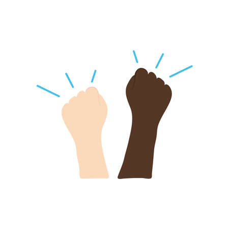 protesting concept, two hands protesting over white background, flat style, vector illustration Çizim