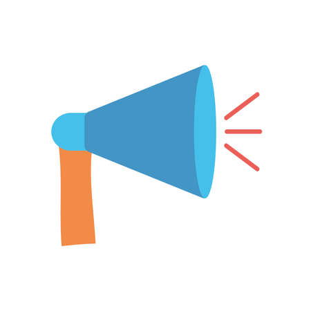 protest concept, megaphone device icon over white background, flat style, vector illustration