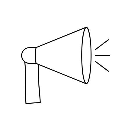 protest concept, megaphone device icon over white background, line style, vector illustration