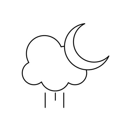 rainy cloud and half moon over white background, line style, vector illustration Çizim