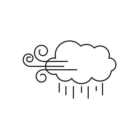 weather concept, wind cloud and rain over white background, line style, vector illustration Illusztráció