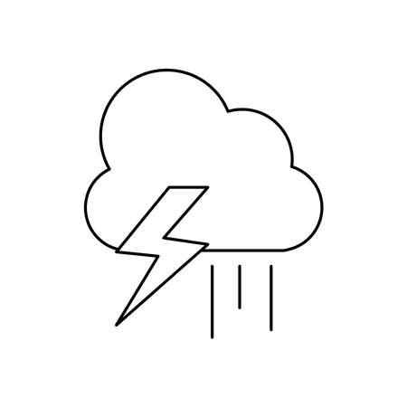 weather concept, thunder and rainy cloud icon over white background, line style, vector illustration