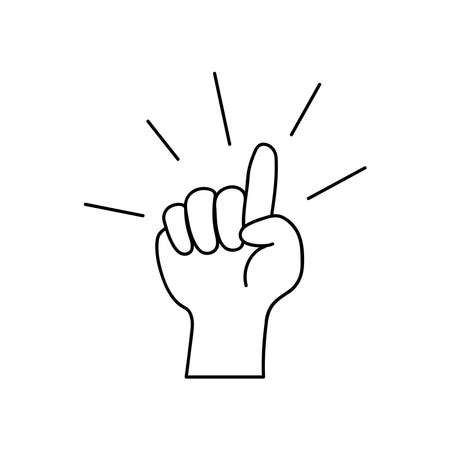 protest concept, hand with the pointer finger up over white background, line style, vector illustration Çizim