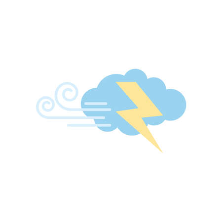weather concept, wind cloud and thunder icon over white background, flat style, vector illustration Illusztráció