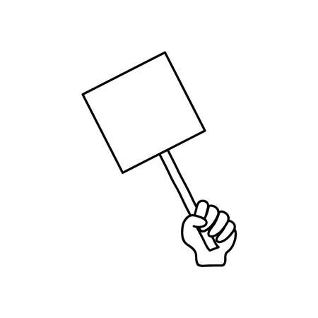 protesting concept, hand holding a balnk banner icon over white background, line style, vector illustration Çizim