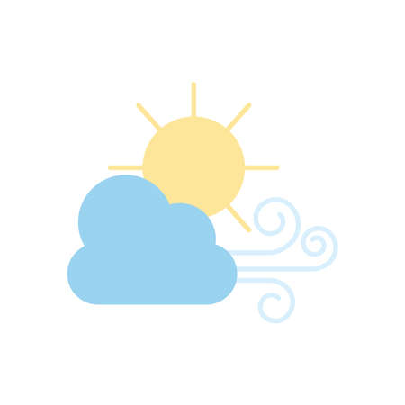 weather concept, wind cloud and sun icon over white background, flat style, vector illustration