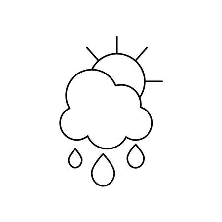 rainy cloud and sun icon over white background, line style, vector illustration Çizim