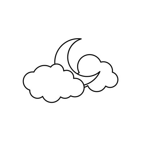 weather concept, half moon and clouds icon over white background, line style, vector illustration Illusztráció