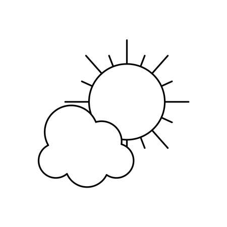 sun and cloud icon over white background, line style, vector illustration