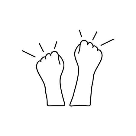 protesting concept, two hands protesting over white background, line style, vector illustration