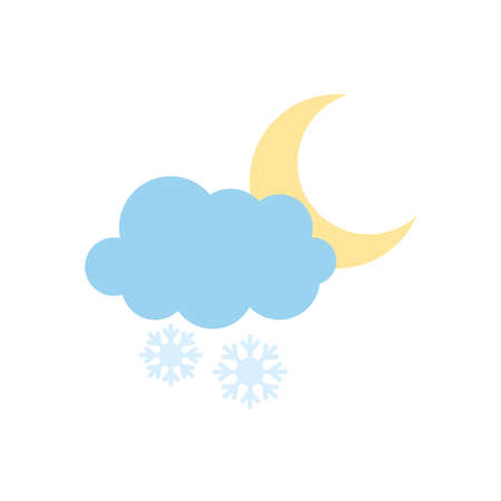 snowy cloud and moon icon over white background, flat style, vector illustration Illusztráció