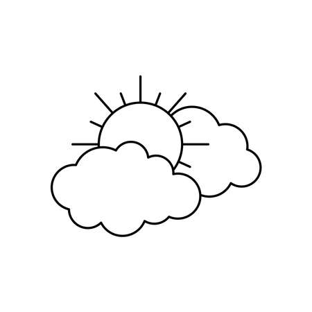 sun and clouds icon over white background, line style, vector illustration