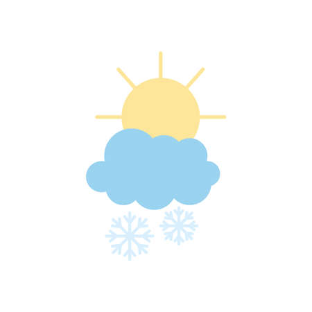 weather concept, sun and snowy cloud with snowflakes over white background, flat style, vector illustration
