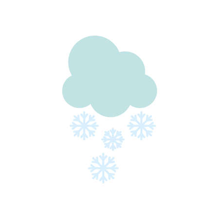 weather concept, cloud with snowflakes icon over white background, flat style, vector illustration Illusztráció