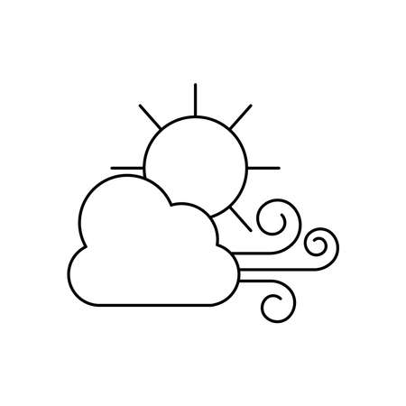 weather concept, wind cloud and sun icon over white background, line style, vector illustration