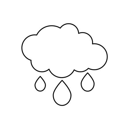 rainy cloud with water drops icon over white background, line style, vector illustration Illusztráció