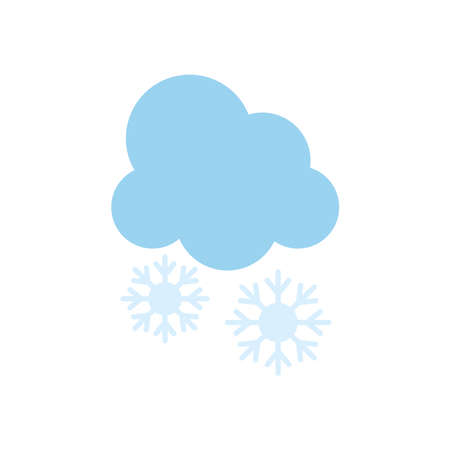 cloud with snowflakes icon over white background, flat style, vector illustration