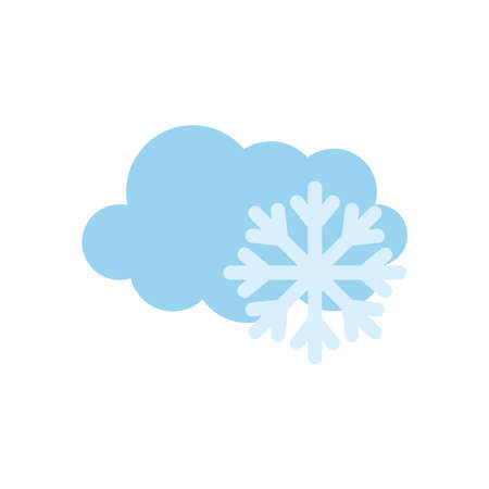 weather concept, cloud and snowflake icon over white background, flat style, vector illustration