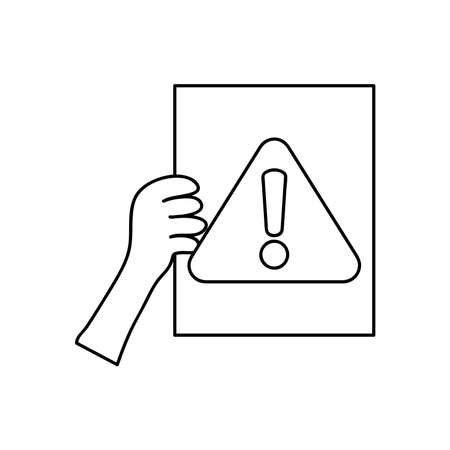 protest concept, hand holding a placard with warning sign symbol over white background, line style, vector illustration