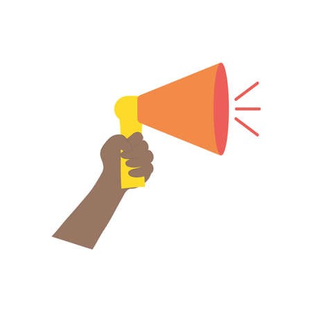 protesting concept, hand holding up a megaphone icon over white background, flat style, vector illustration
