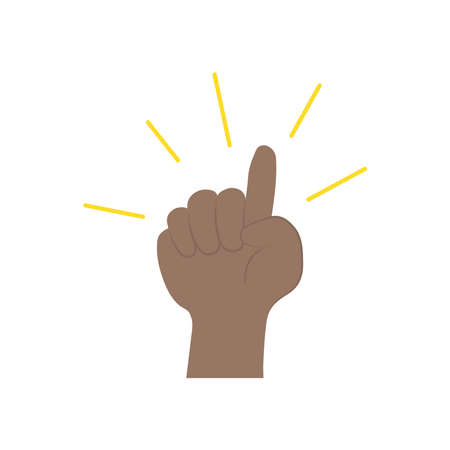 protest concept, hand with the pointer finger up over white background, flat style, vector illustration