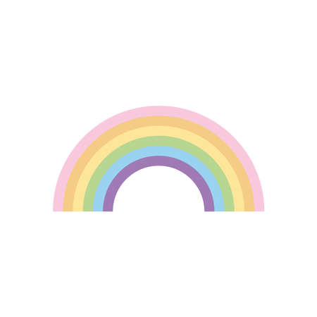 weather concept, rainbow icon over white background, flat style, vector illustration