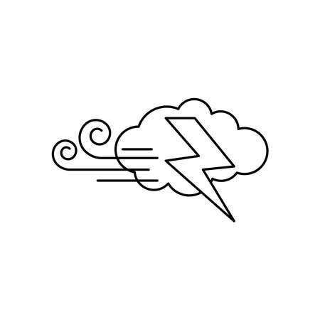 weather concept, wind cloud and thunder icon over white background, line style, vector illustration