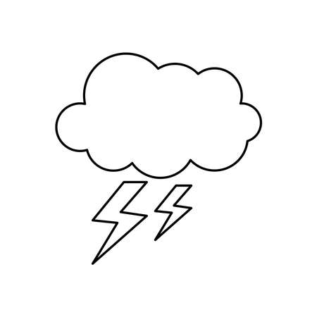 stormy cloud icon over white background, line style, vector illustration Illusztráció