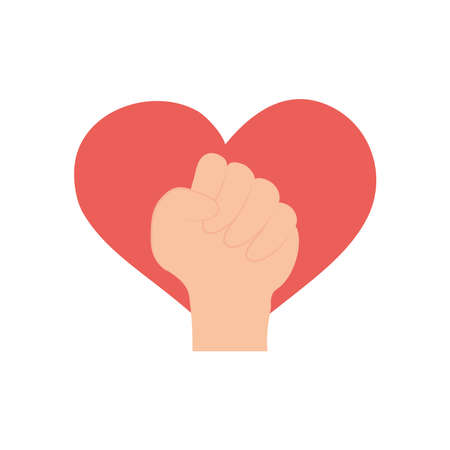 protest concept, heart and fist hand gesture icon over white background, flat style, vector illustration Çizim