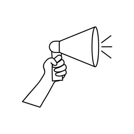 protesting concept, hand holding up a megaphone icon over white background, line style, vector illustration