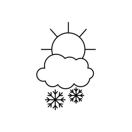 weather concept, sun and snowy cloud with snowflakes over white background, line style, vector illustration Illusztráció