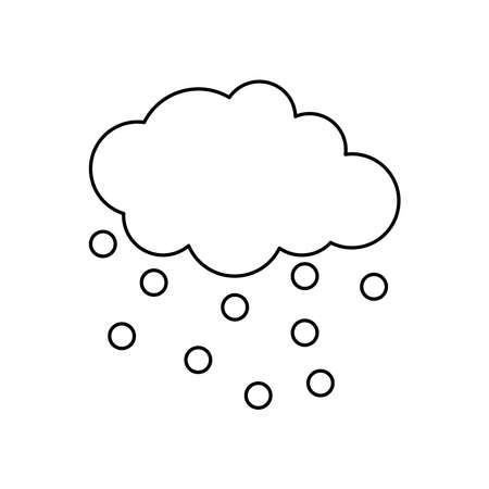 cloud with raindrops icon over white background, line style, vector illustration