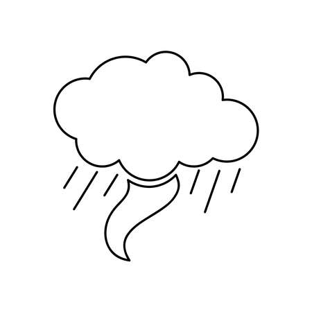 tornado cloud icon over white background, line style, vector illustration