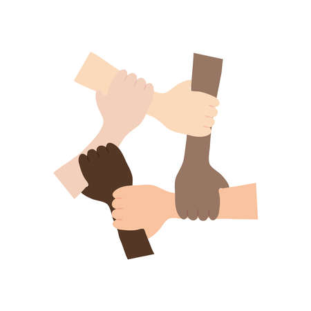 protest concept, Five Human Hands Holding Eachother For Solidarity And Unity over white background, flat style, vector illustration