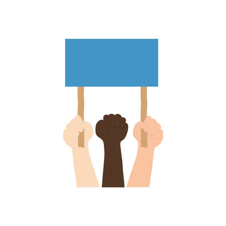 protesting hands with blank placard icon over white background, flat style, vector illustration Çizim
