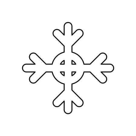 winter snowflake icon over white background, line style, vector illustration Çizim
