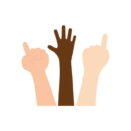 protesting concept, hands with protesting gesture over white background, flat style, vector illustration