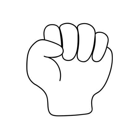 protesting concept, hand with closed fist over white background, line style, vector illustration