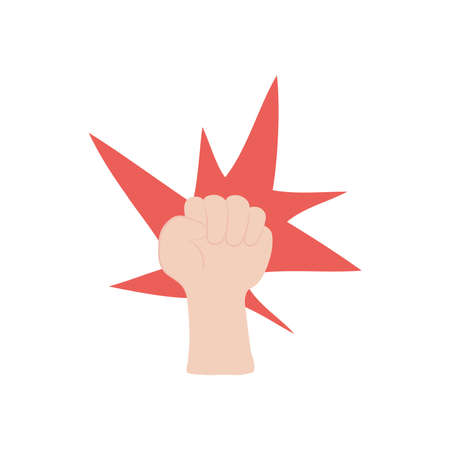 protest concept, Human hand with fingers folded into fist and decorative burst icon over white background, flat style, vector illustration 矢量图像