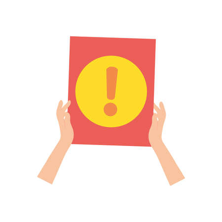 protest concept, hands holding a placard with exclamatin symbol icon over white background, flat style, vector illustration