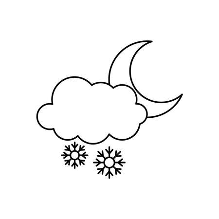 snowy cloud and moon icon over white background, line style, vector illustration Illusztráció