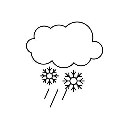 cloud and snowflakes icon over white background, line style, vector illustration