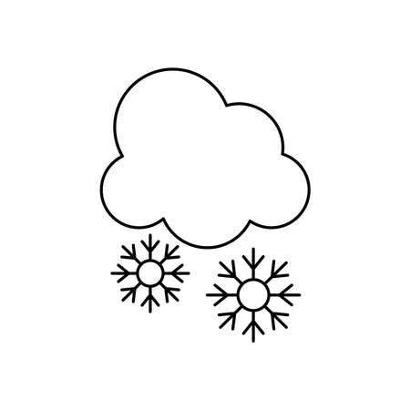 cloud with snowflakes icon over white background, line style, vector illustration