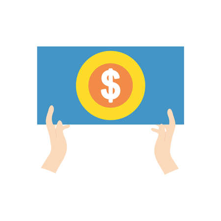 protest concept, hands holding a placard with money symbol icon over white background, flat style, vector illustration