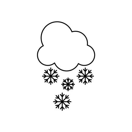 weather concept, cloud with snowflakes icon over white background, line style, vector illustration