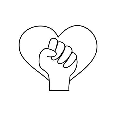protest concept, heart and fist hand gesture icon over white background, line style, vector illustration Çizim