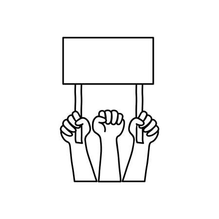 protesting hands with blank placard icon over white background, line style, vector illustration