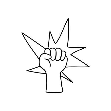 protest concept, Human hand with fingers folded into fist and decorative burst icon over white background, line style, vector illustration 矢量图像